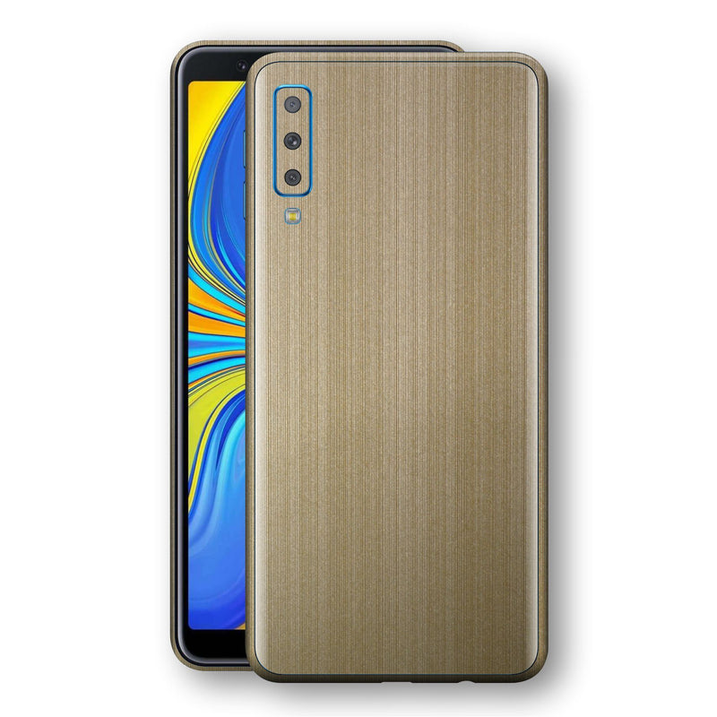 Samsung Galaxy A7 (2018) Premium Brushed Champagne Gold Metallic Metal Skin, Decal, Wrap, Protector, Cover by EasySkinz | EasySkinz.com
