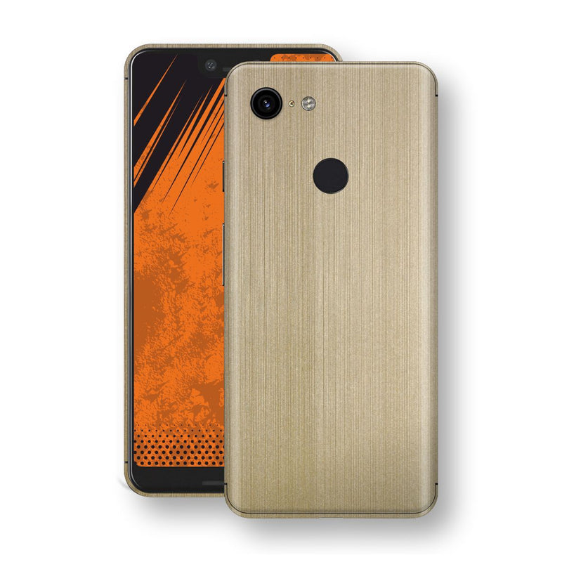 Google Pixel 3 XL Premium Brushed Champagne Gold Metallic Metal Skin, Decal, Wrap, Protector, Cover by EasySkinz | EasySkinz.com