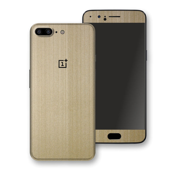 OnePlus 5 Premium Brushed Champagne Gold Metallic Metal Skin, Decal, Wrap, Protector, Cover by EasySkinz | EasySkinz.com