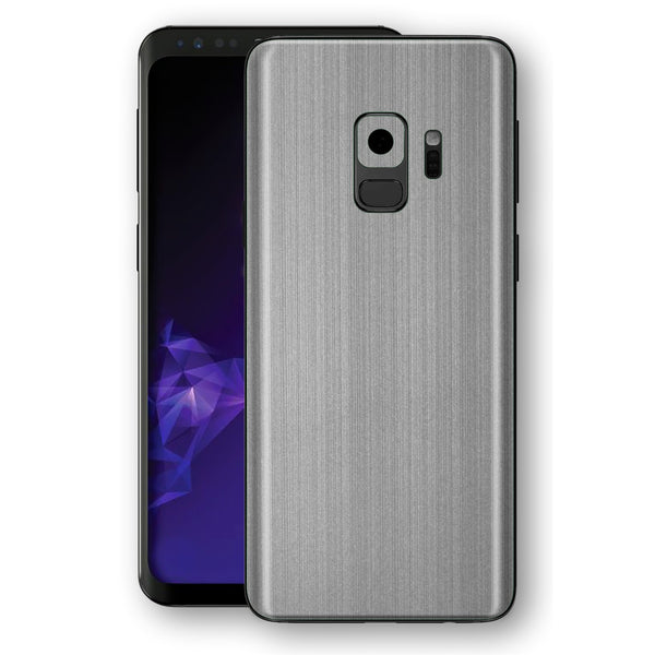 Samsung GALAXY S9 Premium Brushed STEEL Metallic Metal Skin, Decal, Wrap, Protector, Cover by EasySkinz | EasySkinz.com