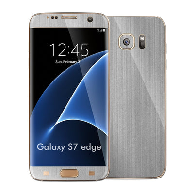 Samsung Galaxy S7 EDGE Brushed Steel Metallic Skin Wrap Decal Protector Cover Sticker by EasySkinz