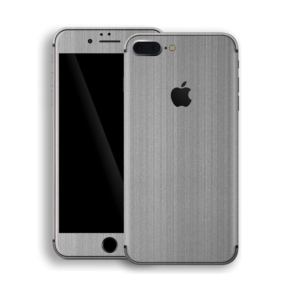 iPhone 8 Plus Brushed Steel Metallic Skin, Decal, Wrap, Protector, Cover by EasySkinz | EasySkinz.com
