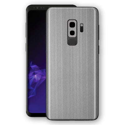 Samsung GALAXY S9+ PLUS Premium Brushed STEEL Metallic Metal Skin, Decal, Wrap, Protector, Cover by EasySkinz | EasySkinz.com