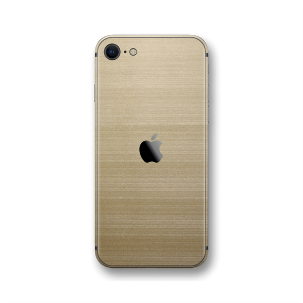 iPhone SE (2020) Premium Brushed Champagne Gold Metallic Metal Skin Wrap Sticker Decal Cover Protector by EasySkinz