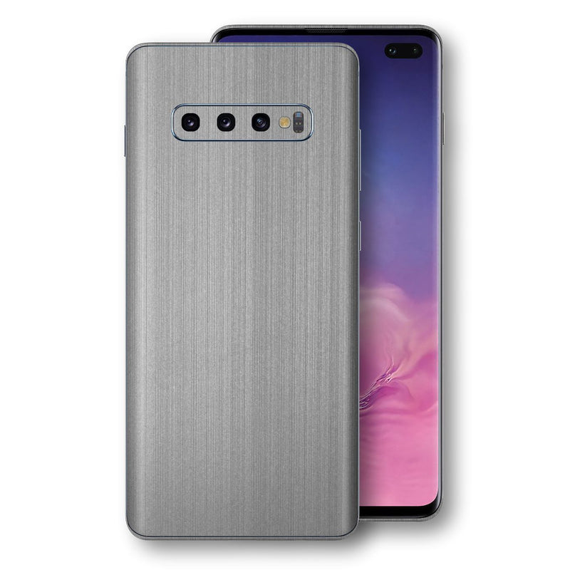 Samsung Galaxy S10+ PLUS Premium Brushed STEEL Metallic Metal Skin, Decal, Wrap, Protector, Cover by EasySkinz | EasySkinz.com