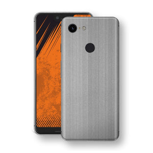 Google Pixel 3 XL Premium Brushed STEEL Metallic Metal Skin, Decal, Wrap, Protector, Cover by EasySkinz | EasySkinz.com