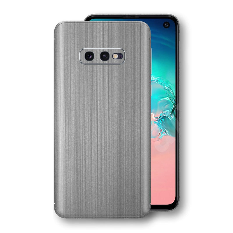 Samsung Galaxy S10e Premium Brushed STEEL Metallic Metal Skin, Decal, Wrap, Protector, Cover by EasySkinz | EasySkinz.com
