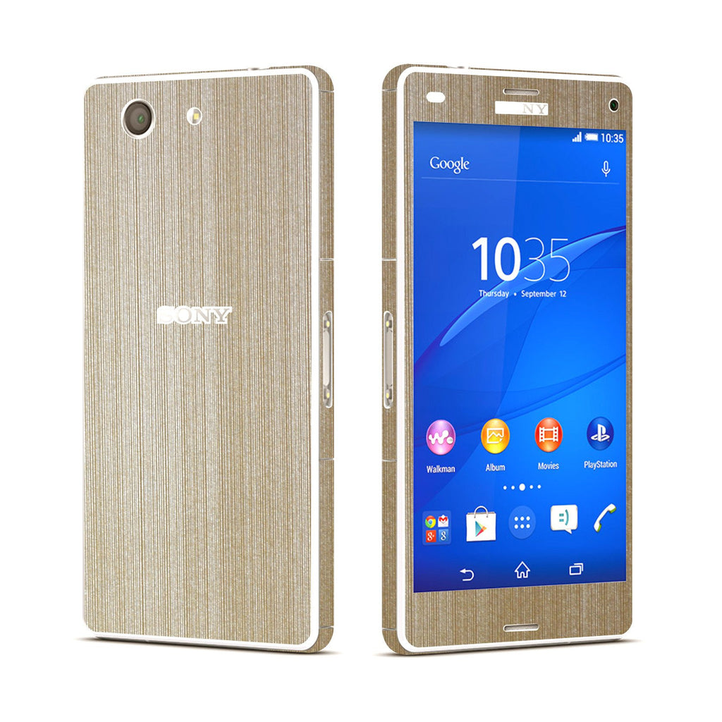 Sony Xperia Z3 COMPACT Brushed Champagne GOLD Skin Wrap Sticker Cover Decal Protector. By EasySkinz.