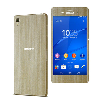 Sony Xperia Z3 Premium Brushed Metal Champagne GOLD Skin Wrap Sticker Cover Decal Protector. By EasySkinz.