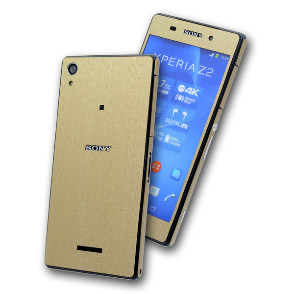 Sony Xperia Z2 brushed metal gold skin