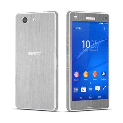 Sony Xperia Z3 COMPACT Brushed Steel Skin Wrap Sticker Cover Decal Protector. By EasySkinz.