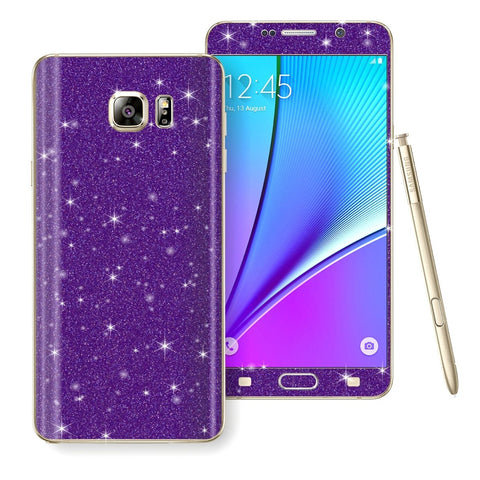 Samsung Galaxy Note 5 Diamond Glitter Shimmering PURPLE Skin Wrap Decal Sticker Protector Cover by EasySkinz