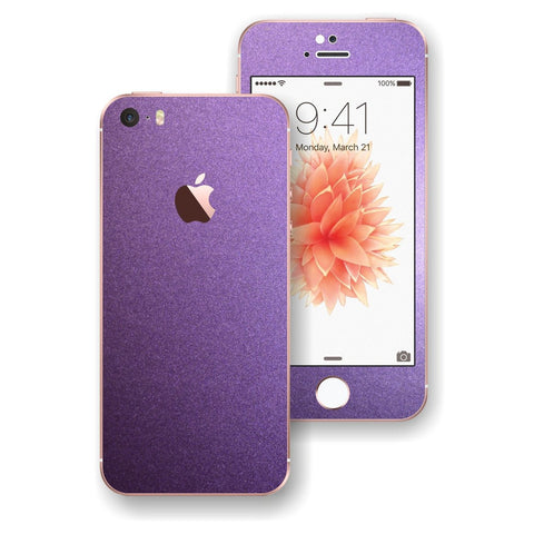 iPhone SE Violet Matt Matte Metallic Skin Wrap Decal Sticker Cover Protector by EasySkinz
