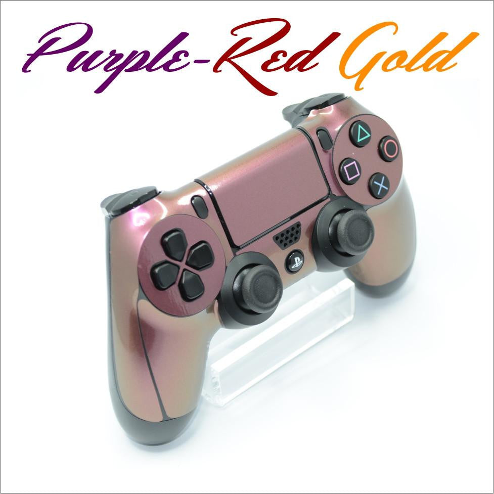 ps4 controller chameleon purple red gold skin
