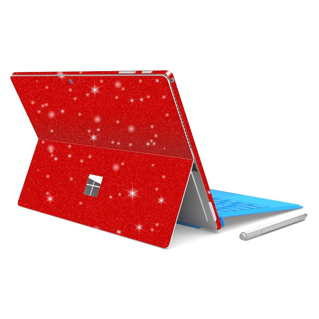 Microsoft Surface PRO 4 Diamond Red Shimmering Glitter Skin Wrap Sticker Decal Cover Protector by EasySkinz