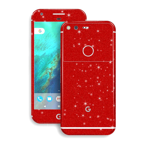 Google Pixel XL Diamond Red Shimmering Glitter Skin Wrap Decal by EasySkinz