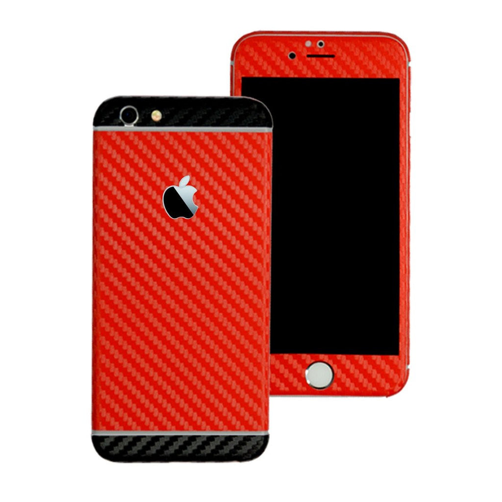 iPhone 6S PLUS Two Tone Red and Black CARBON Fibre Skin Wrap Sticker Decal Cover Protector by EasySkinz