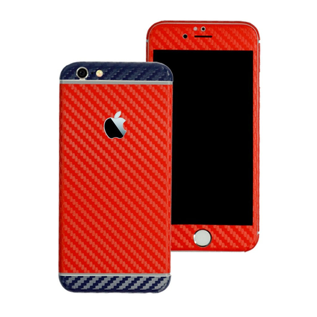 iPhone 6 Two Tone Red and Navy Blue CARBON Fibre Skin Wrap Sticker Decal Cover Protector by EasySkinz