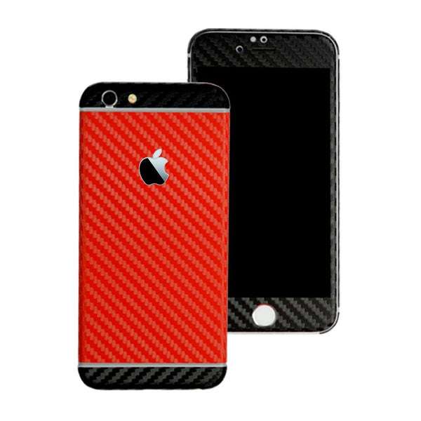 iPhone 6S PLUS Two Tone Red and Double Black CARBON Fibre Skin Wrap Sticker Decal Cover Protector by EasySkinz