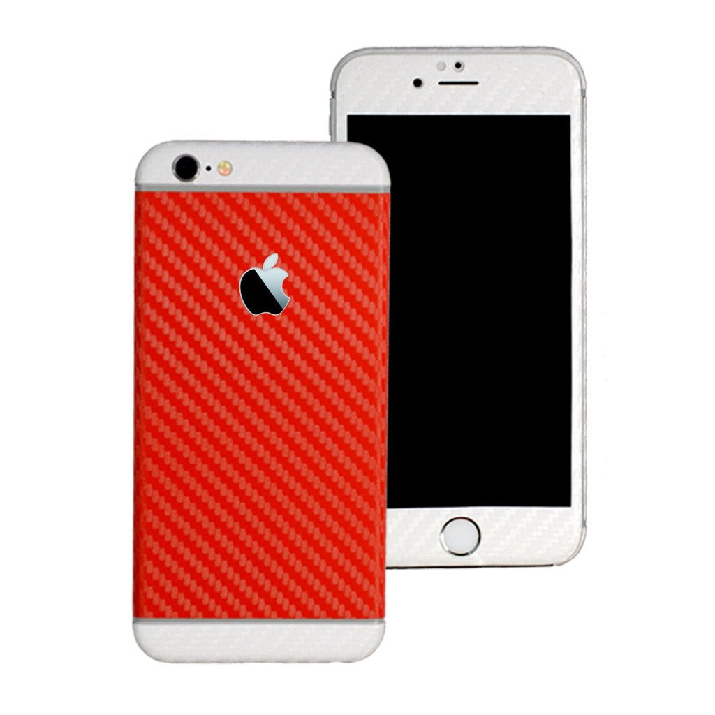 iPhone 6S Two Tone Red and Double White CARBON Fibre Skin Wrap Sticker Decal Cover Protector by EasySkinz