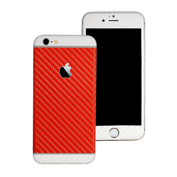 iPhone 6 Two Tone Red and Double White CARBON Fibre Skin Wrap Sticker Decal Cover Protector by EasySkinz