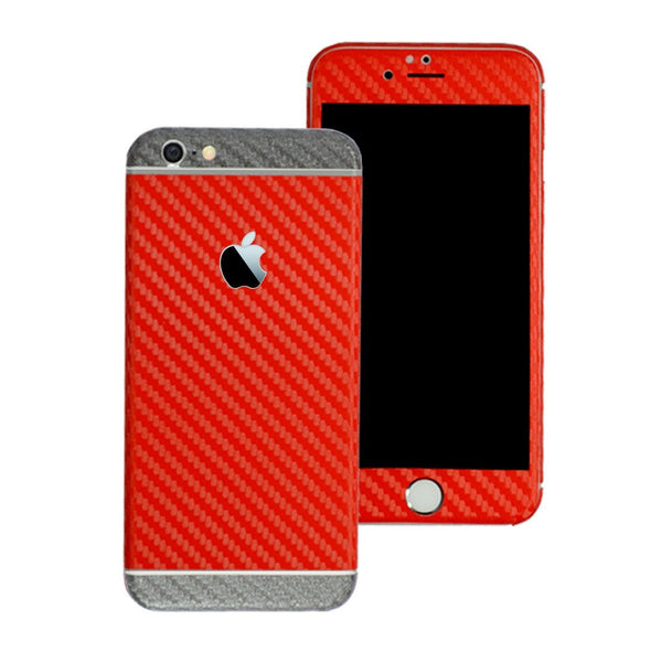 iPhone 6 Plus Two Tone Red and Metallic Grey CARBON Fibre Skin Wrap Sticker Decal Cover Protector by EasySkinz