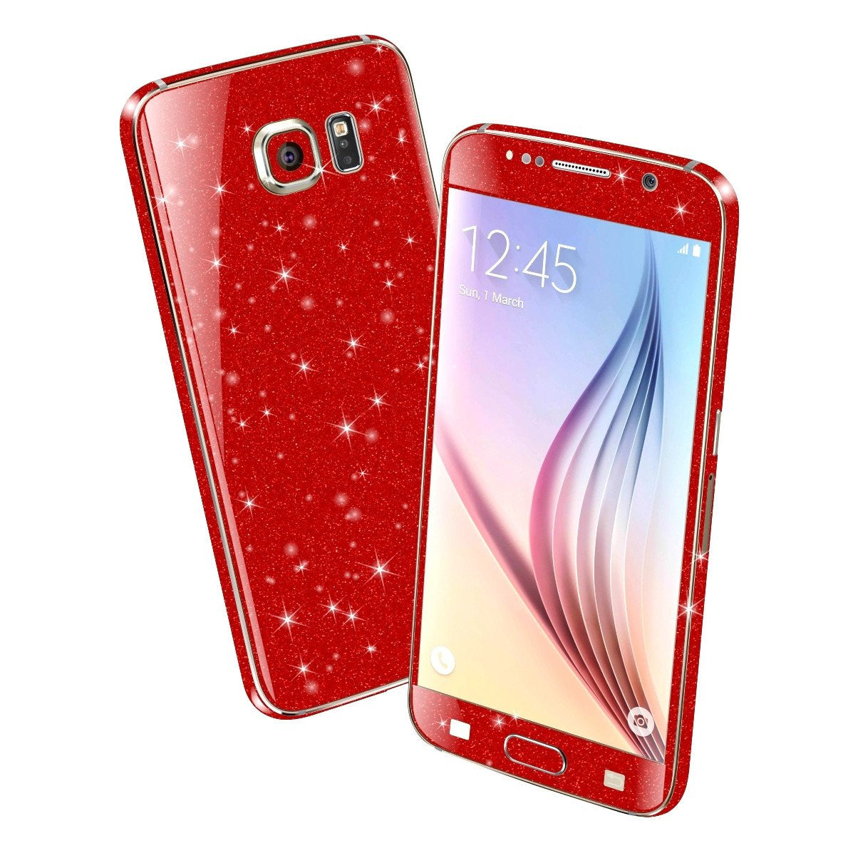 Samsung Galaxy S6 DIAMOND RED Shimmering Sparkling Glitter Skin Wrap Sticker Cover Decal Protector by EasySkinz