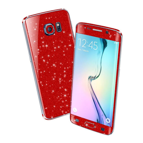 Samsung Galaxy S6 EDGE DIAMOND RED Shimmering Sparkling Glitter Skin Wrap Sticker Cover Decal Protector by EasySkinz