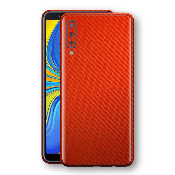 Samsung Galaxy A7 (2018) 3D Textured Red Carbon Fibre Fiber Skin, Decal, Wrap, Protector, Cover by EasySkinz | EasySkinz.com