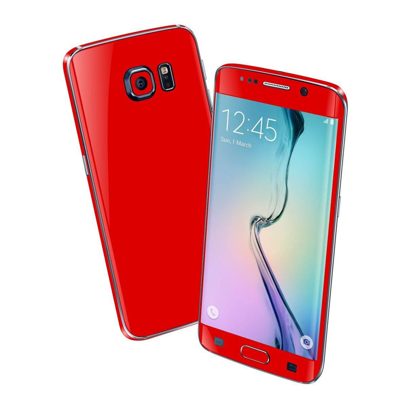 Samsung Galaxy S6 EDGE Colorful RED MATT Skin Wrap Sticker Cover Protector Decal by EasySkinz