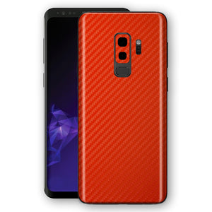 Samsung GALAXY S9+ PLUS 3D Textured RED Carbon Fibre Fiber Skin, Decal, Wrap, Protector, Cover by EasySkinz | EasySkinz.com