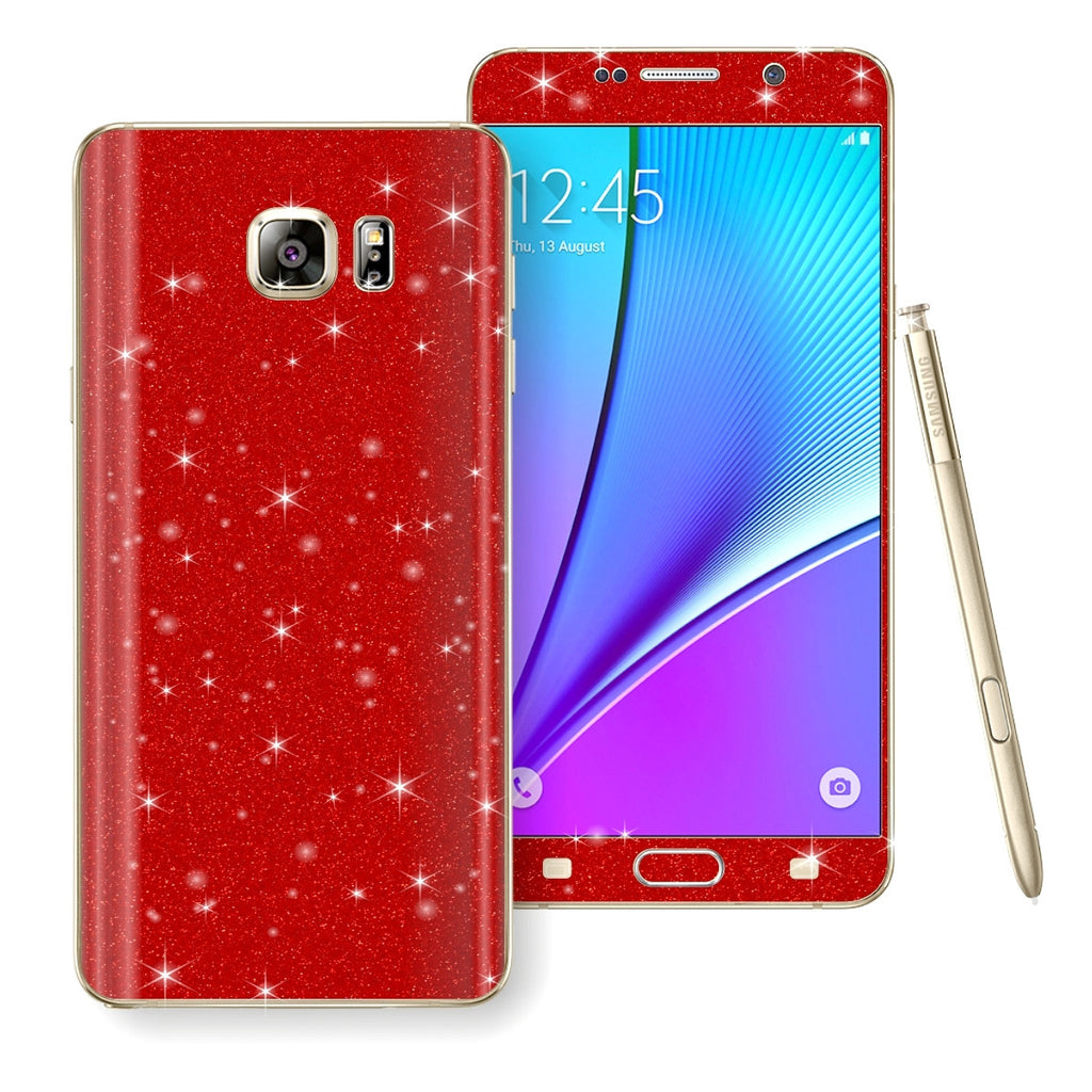 Samsung Galaxy Note 5 Diamond Glitter Shimmering RED Skin Wrap Decal Sticker Protector Cover by EasySkinz