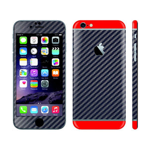 iPhone 6S NAVY BLUE Carbon Fibre Fiber Skin with Red Matt Highlights Cover Decal Wrap Protector Sticker by EasySkinz