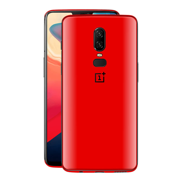OnePlus 6 Bright Red Glossy Gloss Finish Skin, Decal, Wrap, Protector, Cover by EasySkinz | EasySkinz.com