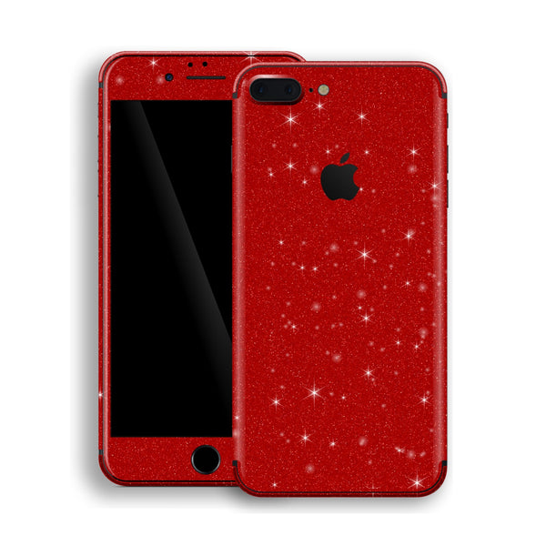 iPhone 8 Plus Diamond Red Shimmering, Sparkling, Glitter Skin, Decal, Wrap, Protector, Cover by EasySkinz | EasySkinz.com