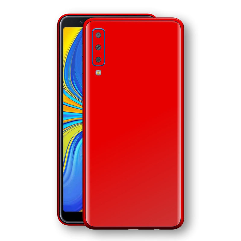 Samsung Galaxy A7 (2018) Bright Red Glossy Gloss Finish Skin, Decal, Wrap, Protector, Cover by EasySkinz | EasySkinz.com
