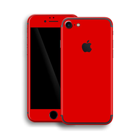iPhone 7 Glossy Bright Red Skin, Wrap, Decal, Protector, Cover by EasySkinz | EasySkinz.com