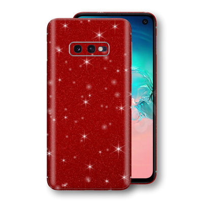 Samsung Galaxy S10e Diamond Red Shimmering, Sparkling, Glitter Skin, Decal, Wrap, Protector, Cover by EasySkinz | EasySkinz.com