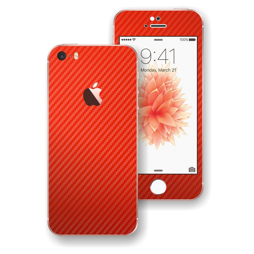 iPhone SE RED Carbon Fibre Fiber Skin Wrap Decal Sticker Cover Protector by EasySkinz