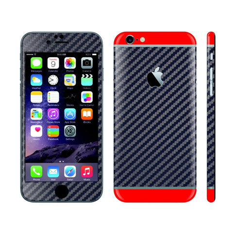 iPhone 6 NAVY BLUE Carbon Fibre Fiber Skin with Red Matt Highlights Cover Decal Wrap Protector Sticker by EasySkinz