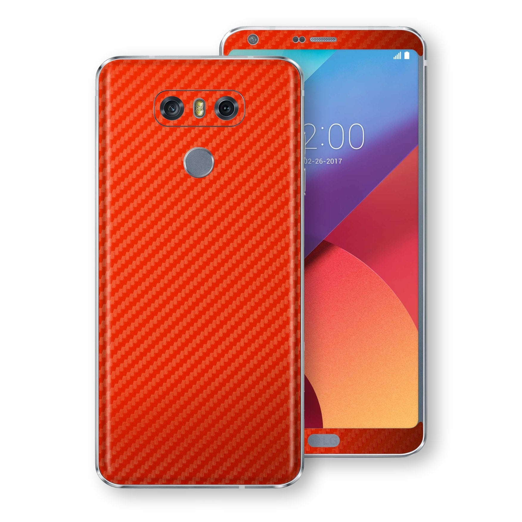 LG G6 3D Textured Red Carbon Fibre Fiber Skin, Decal, Wrap, Protector, Cover by EasySkinz | EasySkinz.com