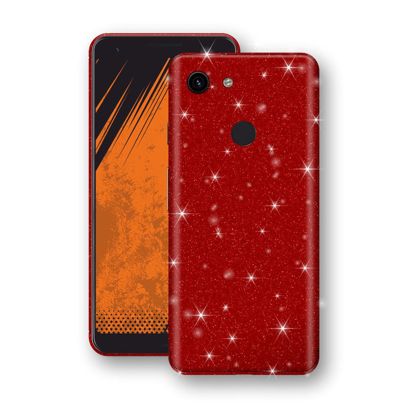 Google Pixel 3a Diamond Red Shimmering, Sparkling, Glitter Skin, Decal, Wrap, Protector, Cover by EasySkinz | EasySkinz.com