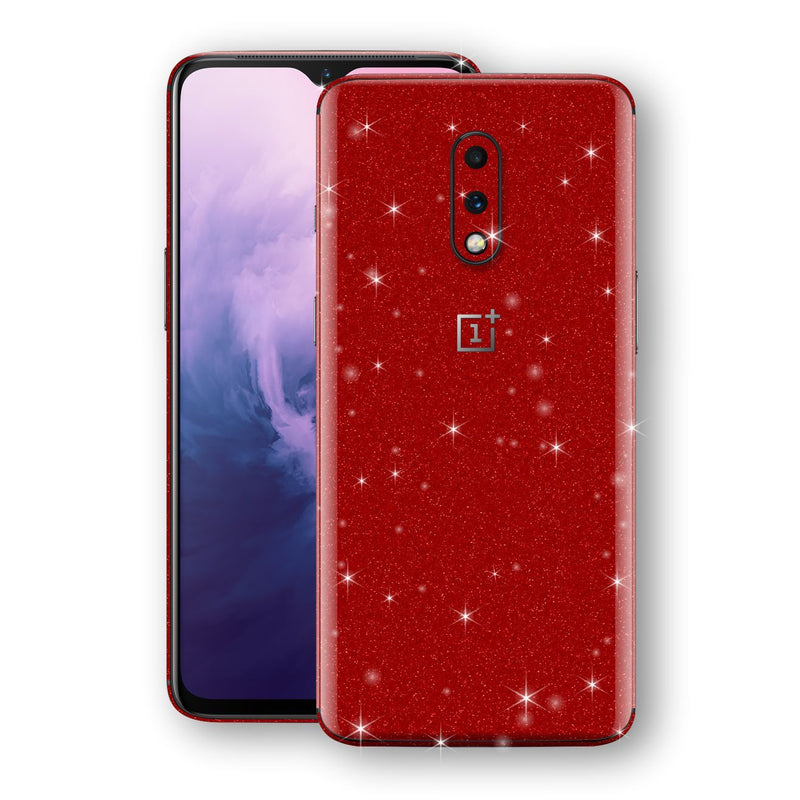 OnePlus 7 Diamond Red Shimmering, Sparkling, Glitter Skin, Decal, Wrap, Protector, Cover by EasySkinz | EasySkinz.com