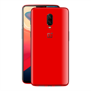 OnePlus 6T Bright Red Glossy Gloss Finish Skin, Decal, Wrap, Protector, Cover by EasySkinz | EasySkinz.com