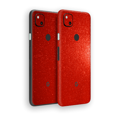 Google Pixel 4a Diamond Red Shimmering, Sparkling, Glitter Skin Wrap Sticker Decal Cover Protector by EasySkinz