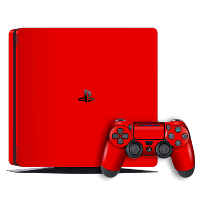 Playstation 4 SLIM PS4 Slim Glossy Bright Red Skin Wrap Decal by EasySkinz