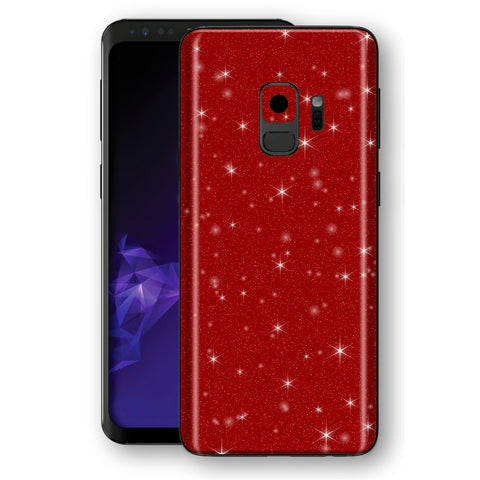 Samsung GALAXY S9 Diamond Red Shimmering, Sparkling, Glitter Skin, Decal, Wrap, Protector, Cover by EasySkinz | EasySkinz.com