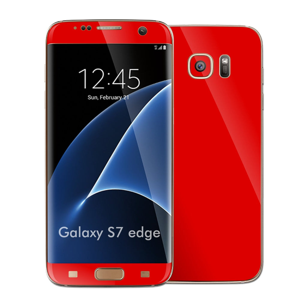 Samsung Galaxy S7 EDGE Glossy BRIGHT RED Skin Wrap Decal Sticker Cover Protector by EasySkinz