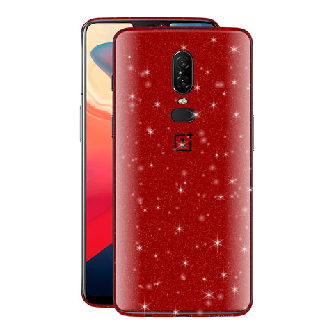 OnePlus 6 Diamond Red Shimmering, Sparkling, Glitter Skin, Decal, Wrap, Protector, Cover by EasySkinz | EasySkinz.co
