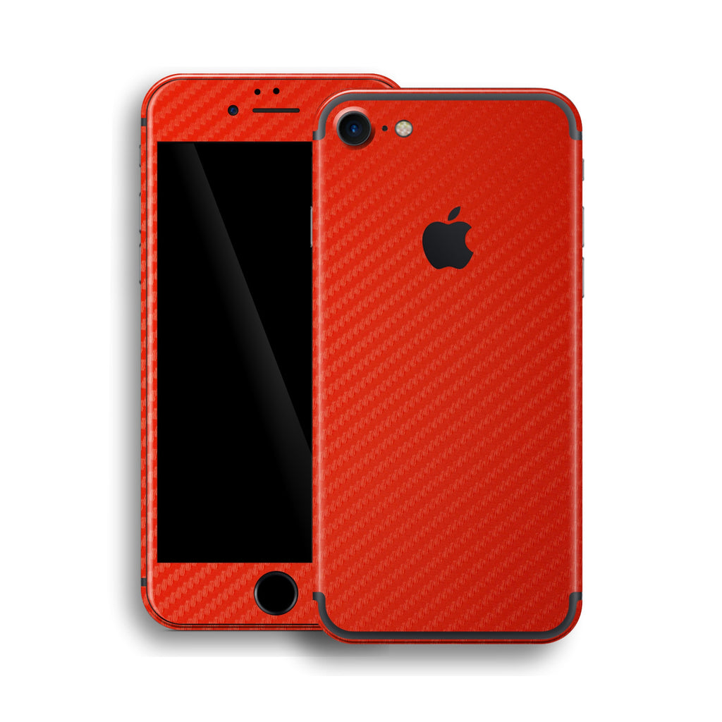 iPhone 7 Red 3D Textured CARBON Fibre Fiber Skin, Wrap, Decal, Protector, Cover by EasySkinz | EasySkinz.com